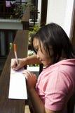 Het schrijven op het balkon Stock Afbeeldingen