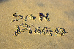 Het schrijven op het zand Royalty-vrije Stock Afbeelding
