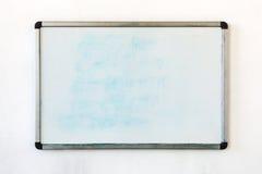 Het schrijven raad het hangen op de oude vuile muur in het bureau Stock Afbeeldingen