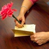 Het Schrijven van de hand dankt u nota neemt van Royalty-vrije Stock Foto's