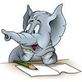 Het schrijven van de olifant Stock Foto