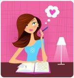Het schrijven van de tiener agenda en het dromen over liefde Stock Foto's