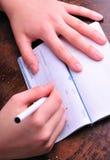 Het schrijven van een controle stock afbeelding