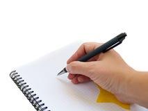 Het schrijven van een nota Stock Afbeelding