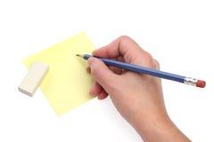 Het schrijven van hand met een blauw potlood Royalty-vrije Stock Foto