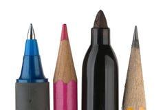 Het schrijven van Hulpmiddelen op Wit. Stock Afbeelding