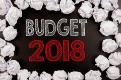 Het schrijven van tekst die Begroting 2018 tonen Bedrijfsconcept voor Huishouden die boekhouding planning geschreven op zwarte ac Royalty-vrije Stock Foto