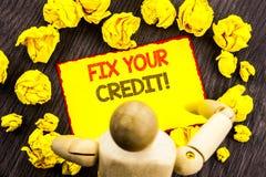 Het schrijven van tekst die Moeilijke situatie Uw Krediet tonen Bedrijfsfoto die Slechte die Scoreclassificatie Avice Fix Improve royalty-vrije illustratie