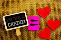 Het schrijven van tekst die Moeilijke situatie Uw Krediet tonen Concept die Slechte die Scoreclassificatie Avice Fix Improvement  vector illustratie