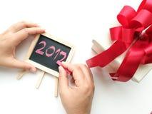 Het schrijven voor verjaardags nieuw jaar 2017 Stock Foto