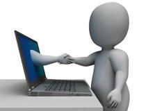 Het schudden van Handen door Computer toont Online Overeenkomst Royalty-vrije Stock Afbeelding