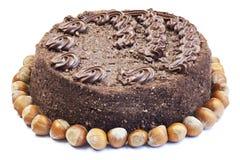 Het schuimgebakjecake van de noot met chocoladeroom Royalty-vrije Stock Foto