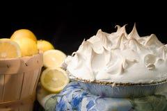 Het schuimgebakjepastei van de citroen met mand stock foto