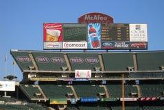 Het Scorebord van het Park van McAfee - Oakland Royalty-vrije Stock Fotografie