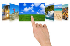 Het scrollen van de hand aard en reisfotografie Stock Foto