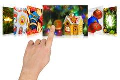 Het scrollen van de hand Kerstmisbeelden Royalty-vrije Stock Afbeelding