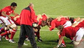 Het scrumpraktijk van Wales van de Kop van de Wereld van het rugby 2011 Stock Foto's