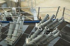Het Seagnat Controlesysteem op het dek van van het de Marinegeleide projectiel van de V.S. de torpedojager USS McFaul tijdens Vlo Stock Foto's