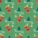 Het seizoen naadloos patroon van de Kerstmisvakantie met Leuke Herten in de winterdouane en Kerstboom mas met van Vrolijk X 'teks stock illustratie