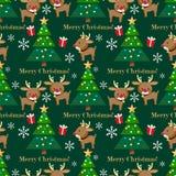 Het seizoen naadloos patroon van de Kerstmisvakantie met Leuke Raindeer, giftvakje en Kerstboom mas met van Vrolijk X 'tekst vector illustratie