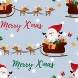 Het seizoen naadloos patroon van de Kerstmisvakantie met Santa Claus in een ar met leuke rendier, ster en mas van Vrolijk X ?teks vector illustratie