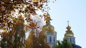 Het seizoen van de herfst Weg in dalingsbos Orthodoxe Christelijke kerk en bomen Kyiv