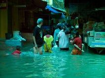 Het seizoen van de moesson in Ayuttaya, Thailand 2011 Stock Fotografie