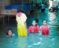 Het seizoen van de moesson in Ayuttaya, Thailand 2011 Royalty-vrije Stock Foto's