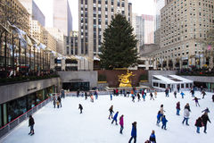 Het Seizoen van Kerstmis op Rockefeller Centrum NYC Royalty-vrije Stock Fotografie
