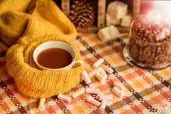 Het seizoengebonden concept van de de herfstmanier, gele warme zachte comfortabele van de de sjaalkop van de sweatercardigan Skan royalty-vrije stock afbeeldingen