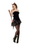 Het sensuele meisje draagt een duivelskostuum Stock Afbeelding