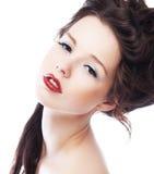 Het sensuele mooie portret van de meisjes donkerbruine close-up Stock Foto