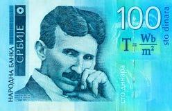 Het Servische 100 bankbiljet van de dinaramunt, sluit omhoog Het geld RSD van Servië Royalty-vrije Stock Fotografie