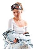 Het sexy aardige meisje van de winter met sportenkostuum Stock Afbeeldingen
