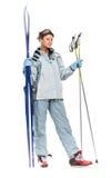 Het sexy aardige meisje van de winter met sportenkostuum en skis Royalty-vrije Stock Foto