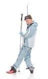 Het sexy aardige meisje van de winter in sportenkostuum en met skis Royalty-vrije Stock Foto