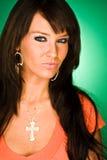 Het sexy donkere haired hoofdschot van de mannequinvrouw Stock Foto's
