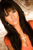 Het sexy donkere haired hoofdschot van de mannequinvrouw Royalty-vrije Stock Foto