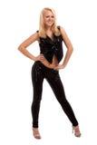 Het sexy jonge blonde vrouw dansen Stock Foto