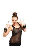 Het sexy jonge vrouw gesturing van rots - en - broodjesteken dat op whi wordt geïsoleerd Stock Foto's
