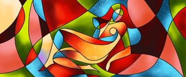 Het sexy kunstwerk van het vrouwengebrandschilderde glas stock illustratie