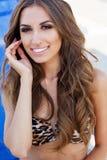 Het sexy meisje draagt luipaard gedrukte bikini met perfecte make-up Royalty-vrije Stock Foto