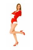 Het sexy Meisje kleedde zich als Kerstman Stock Foto
