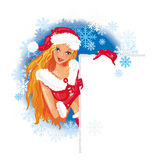 Het sexy meisje van de Kerstman Stock Afbeeldingen