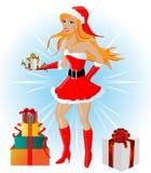 Het sexy meisje van de Kerstman, illustratie Stock Fotografie
