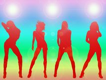 Het sexy meisjes dansen Stock Foto's