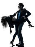 Het sexy modieuze silhouet van paarminnaars Royalty-vrije Stock Foto's