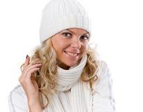 Het sexy mooie meisje van de winter in witte hoed Stock Foto's