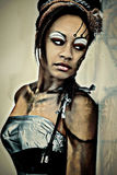Het sexy Volwassen Abstracte Portret van Cybrog van de Fantasie stock foto's