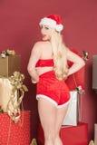 Het sexy vrouwelijke santa glimlachen Royalty-vrije Stock Foto